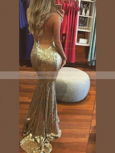 Trumpet/Mermaid Halter Sweep Train Sequined Prom Dresses #PDS020106537
