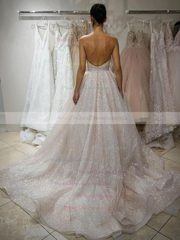 Princess Sweetheart Court Train Glitter Prom Dresses #PDS020106540
