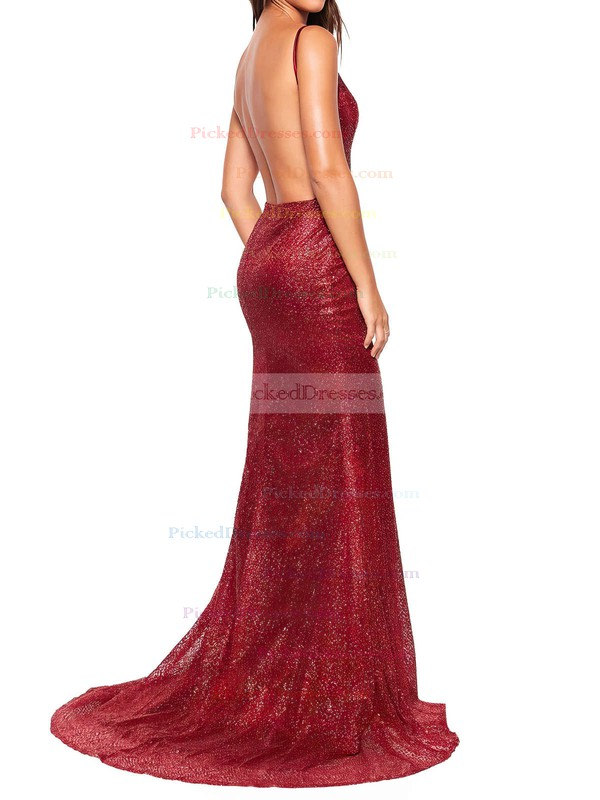 Sheath/Column V-neck Floor-length Sequined Prom Dresses #PDS020106541
