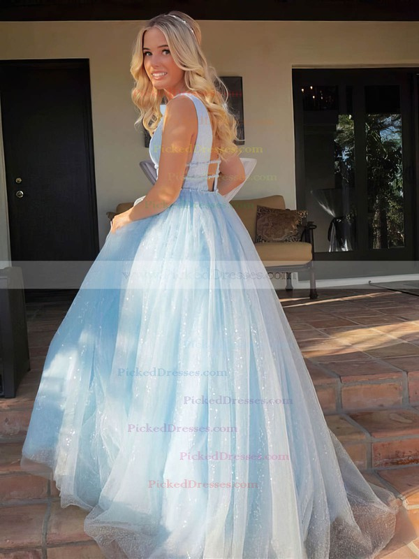 Princess V-neck Floor-length Glitter Beading Prom Dresses #PDS020106542