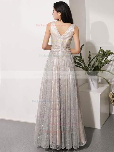 A-line V-neck Floor-length Glitter Beading Prom Dresses #PDS020106543