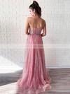 A-line Sweetheart Floor-length Glitter Beading Prom Dresses #PDS020106544