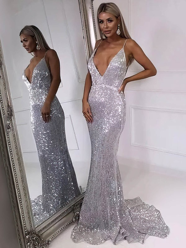 Trumpet/Mermaid V-neck Sweep Train Sequined Prom Dresses #PDS020106546