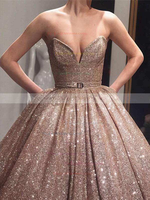 Ball Gown V-neck Floor-length Shimmer Crepe Sashes / Ribbons Prom Dresses #PDS020106547