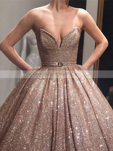 Ball Gown V-neck Floor-length Shimmer Crepe Sashes / Ribbons Prom Dresses #PDS020106547