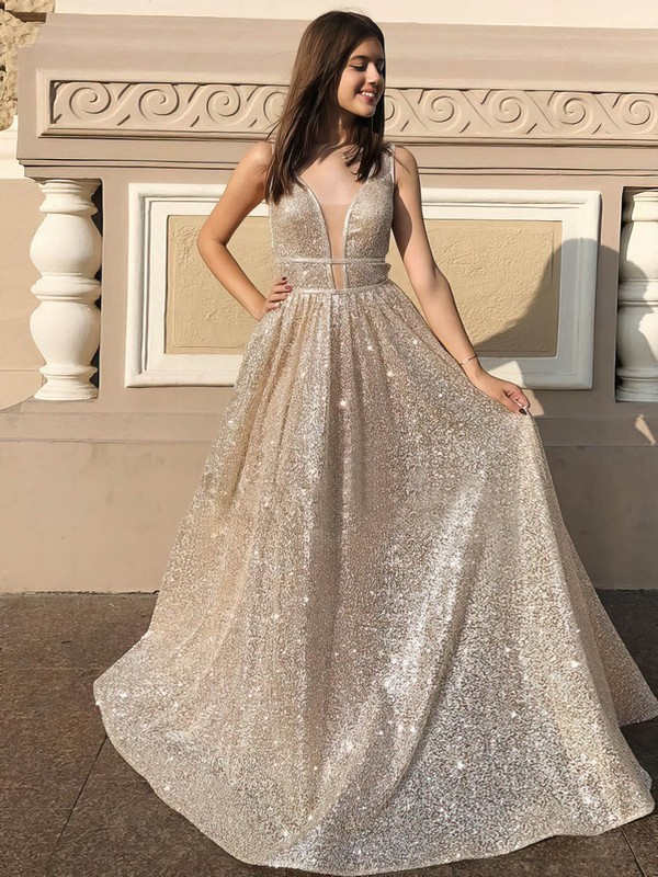 Princess V-neck Floor-length Sequined Prom Dresses #PDS020106548