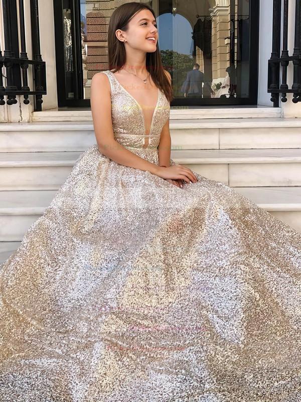 Princess V-neck Floor-length Sequined Prom Dresses #PDS020106548