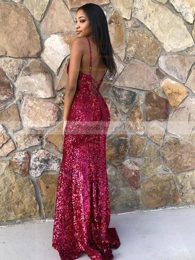 Trumpet/Mermaid V-neck Floor-length Sequined Prom Dresses #PDS020106549