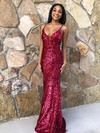 Trumpet/Mermaid V-neck Floor-length Sequined Prom Dresses #PDS020106549
