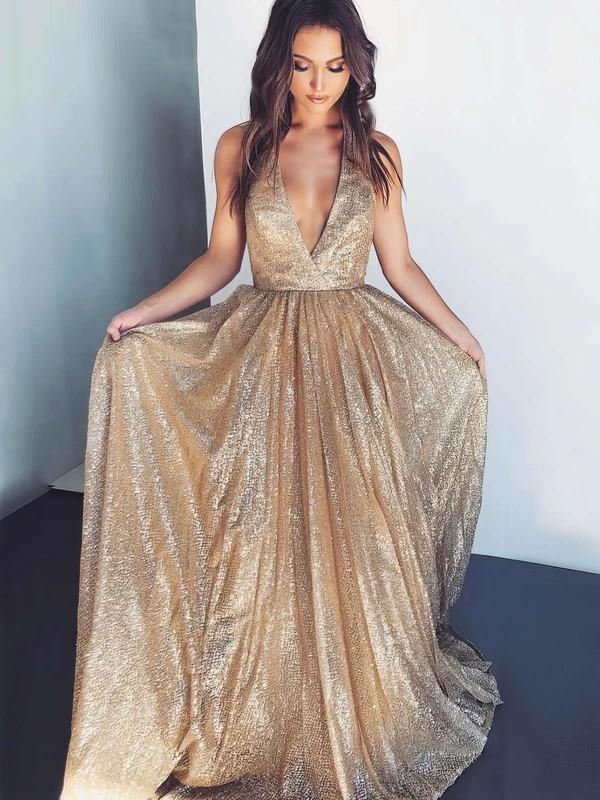 A-line Halter Floor-length Shimmer Crepe Prom Dresses #PDS020106550