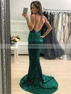 Trumpet/Mermaid V-neck Sweep Train Sequined Prom Dresses #PDS020106551
