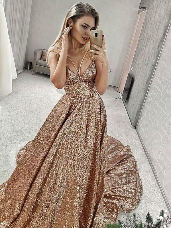 Princess V-neck Court Train Sequined Prom Dresses #PDS020106552