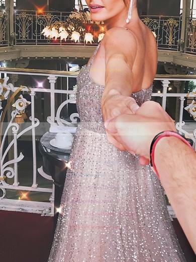 A-line Square Neckline Floor-length Glitter Prom Dresses #PDS020106553
