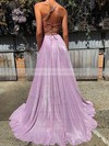 A-line V-neck Sweep Train Shimmer Crepe Pockets Prom Dresses #PDS020106554