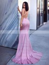 Trumpet/Mermaid Cowl Neck Shimmer Crepe Sweep Train Prom Dresses #PDS020106557
