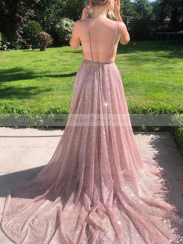 A-line V-neck Glitter Sweep Train Ruffles Prom Dresses #PDS020106556