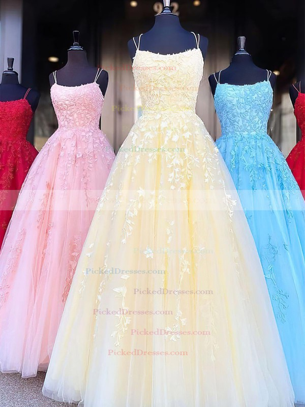 Princess Scoop Neck Tulle Sweep Train Appliques Lace Prom Dresses #PDS020106558