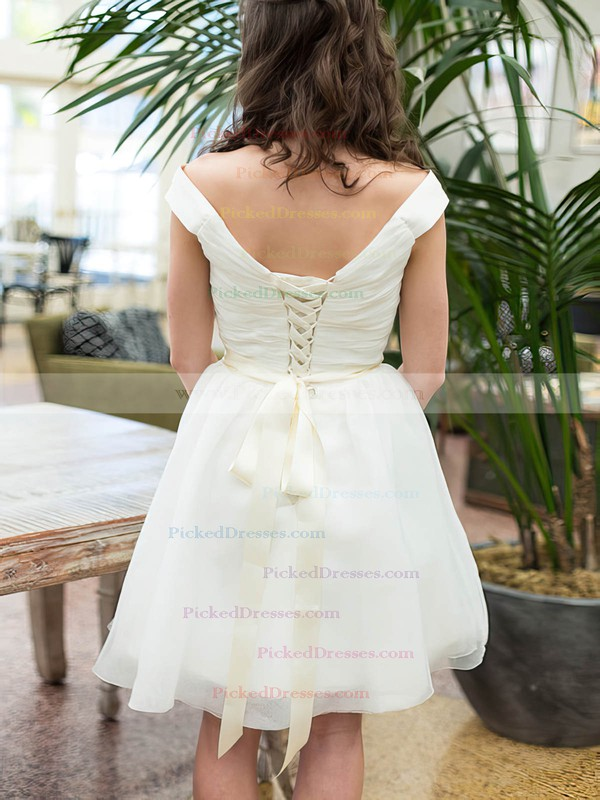 Knee-length White Organza Sashes/Ribbons Off-the-shoulder Promotion Wedding Dresses #PDS00020601