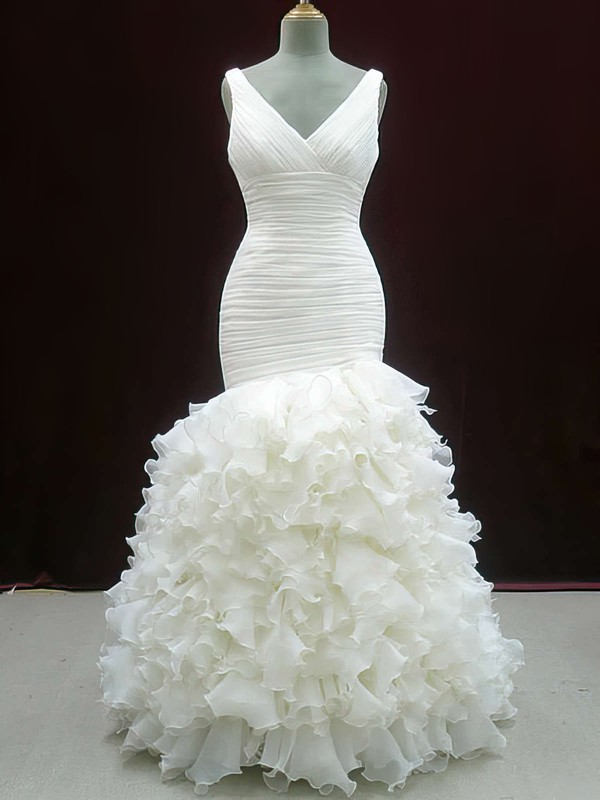 Cheap Ivory Organza V-neck Trumpet/Mermaid Tiered Wedding Dresses