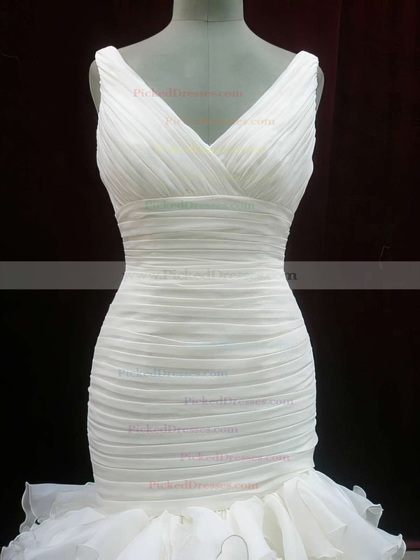 Cheap Ivory Organza V-neck Trumpet/Mermaid Tiered Wedding Dresses #PDS00020604