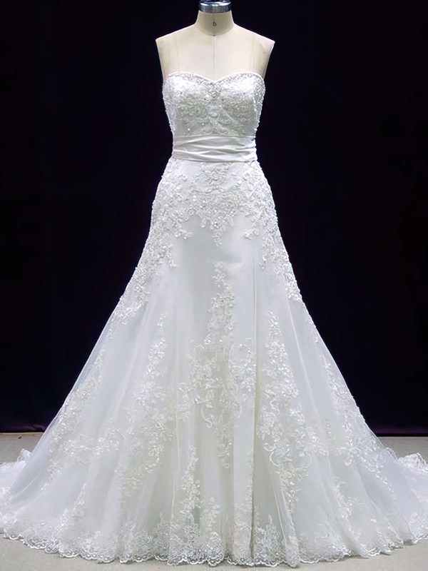 Prettiest A-line Lace with Sashes/Ribbons Sweetheart Ivory Wedding Dress #PDS00020606