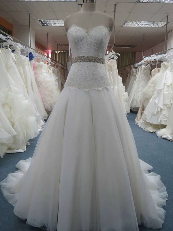 Great Ivory Organza Beading Appliques Lace Sweetheart Princess Wedding Dresses