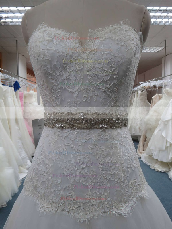 Great Ivory Organza Beading Appliques Lace Sweetheart Princess Wedding Dresses #PDS00020607