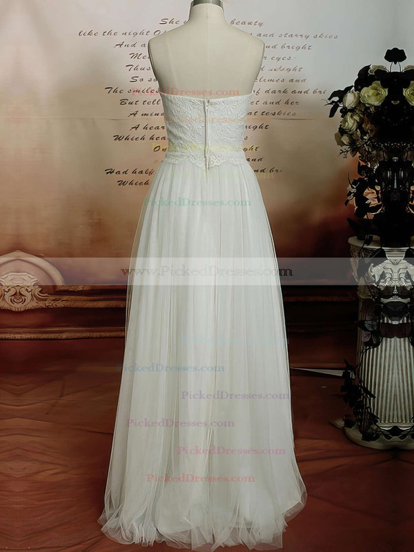 Ivory Satin Tulle with Appliques Lace New Floor-length Sweetheart Wedding Dresses #PDS00020608