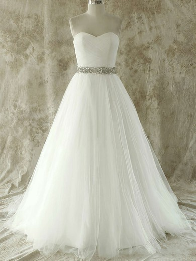 Popular Ivory Tulle with Crystal Detailing Court Train Sweetheart Wedding Dress #PDS00020609