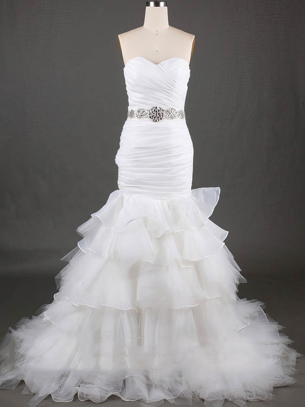 White Tiered Lace-up Organza Tulle Trumpet/Mermaid Sweetheart Wedding Dresses #PDS00020610