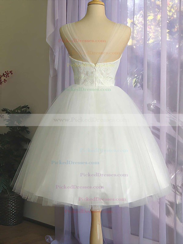 Square Neckline White Satin Tulle Appliques Lace Knee-length Wedding Dress #PDS00020612