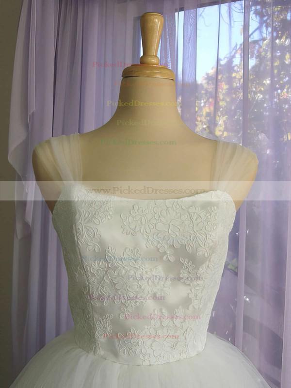 Square Neckline White Satin Tulle Appliques Lace Knee-length Wedding Dress #PDS00020612