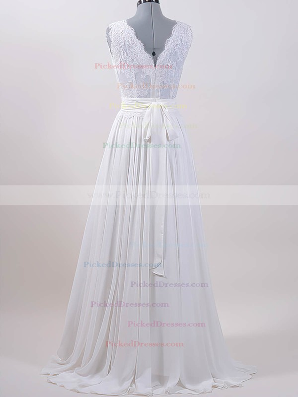 Sweep Train Lace Chiffon Sashes / Ribbons V-neck Cheap White Wedding Dresses #PDS00020615