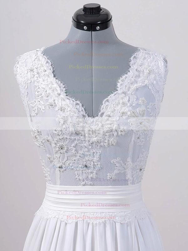 Sweep Train Lace Chiffon Sashes / Ribbons V-neck Cheap White Wedding Dresses #PDS00020615