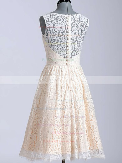 Best Scoop Neck Covered Button Knee-length Champagne Lace Wedding Dresses #PDS00020616