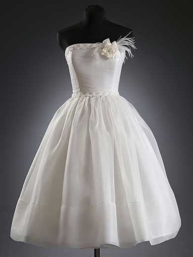 Strapless Organza with Sashes/Ribbons White Knee-length Ball Gown Wedding Dresses #PDS00020624