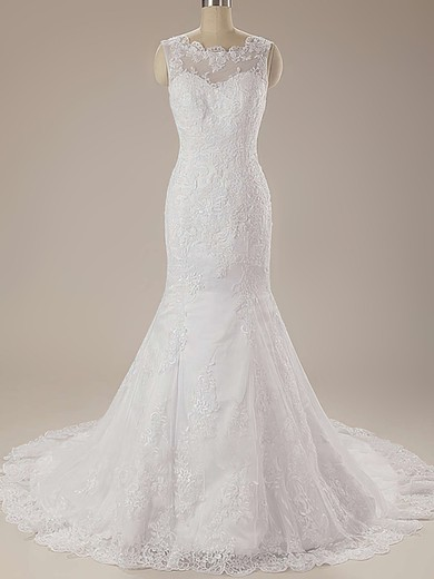 Inexpensive Scalloped Neck White Lace Draped Trumpet/Mermaid Wedding Dress #PDS00020625