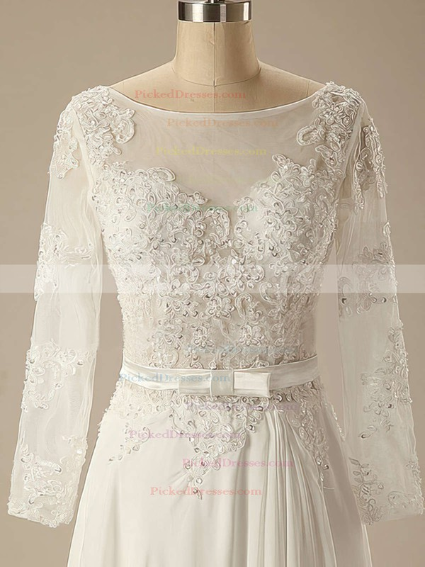 Modest Long Sleeve Sweep Train Appliques Lace Ivory Chiffon Scoop Neck Wedding Dress #PDS00020626