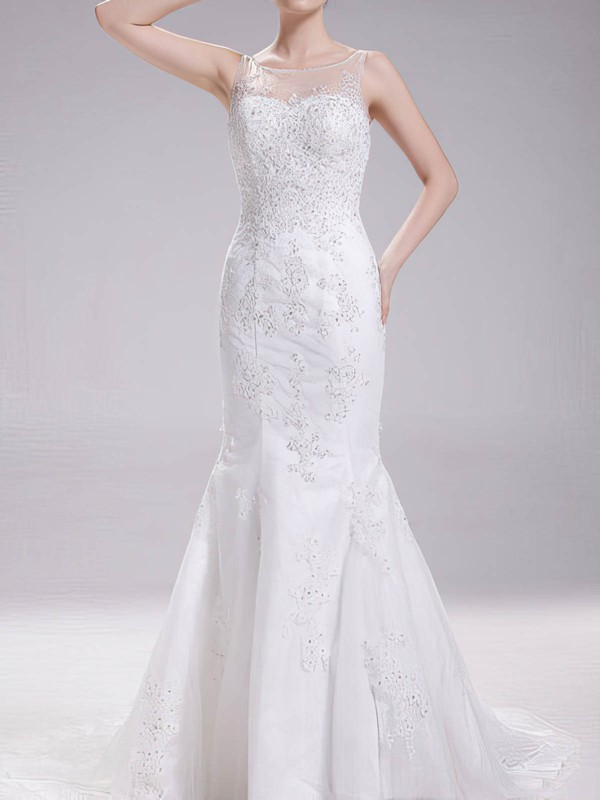 Scoop Neck Backless Tulle Appliques Lace Trumpet/Mermaid White Wedding Dress #PDS00020630