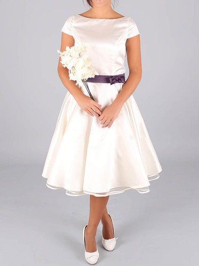 Tea-length Ivory Satin with Sashes/Ribbons Cap Straps Scoop Neck Wedding Dresses #PDS00020633