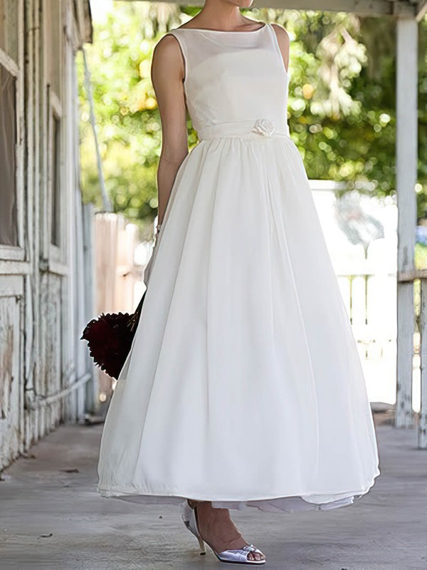 Boutique Satin Flower(s) Square Neckline White Ankle-length Wedding Dresses #PDS00020636