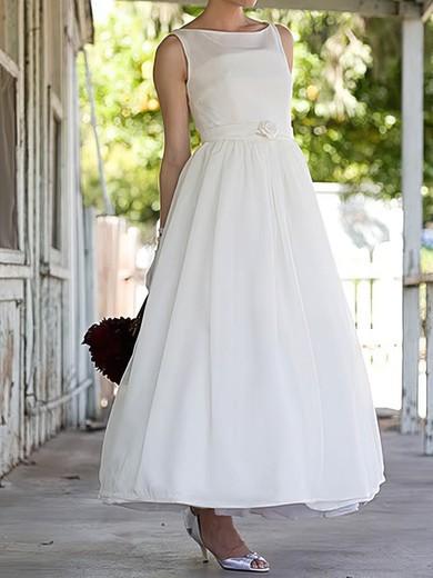 Boutique Satin Flower(s) Square Neckline White Ankle-length Wedding Dresses #PDS00020636