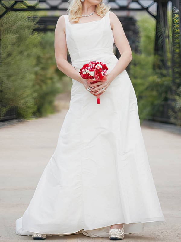 Beautiful White Taffeta Sashes/Ribbons Square Neckline Floor-length Wedding Dress #PDS00020638