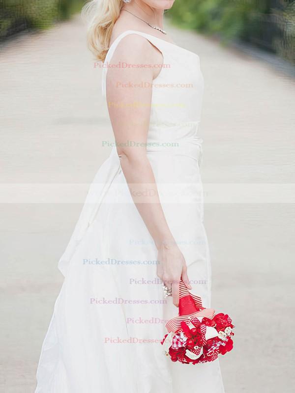Beautiful White Taffeta Sashes/Ribbons Square Neckline Floor-length Wedding Dress #PDS00020638