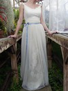Floor-length Ivory Tulle Lace Sashes/Ribbons Unique Scoop Neck Wedding Dresses #PDS00020639