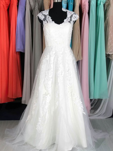 Court Train White Tulle with Appliques Lace Cap Straps V-neck Wedding Dresses #PDS00020662