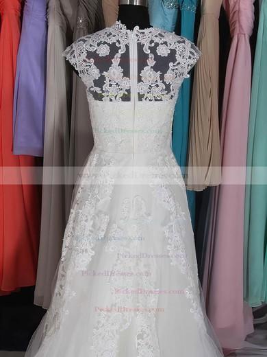 Court Train White Tulle with Appliques Lace Cap Straps V-neck Wedding Dresses #PDS00020662