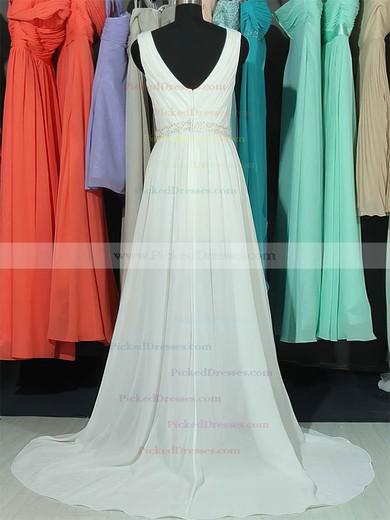 Good Sweep Train Beading V-neck White Lace Chiffon Wedding Dresses #PDS00020663