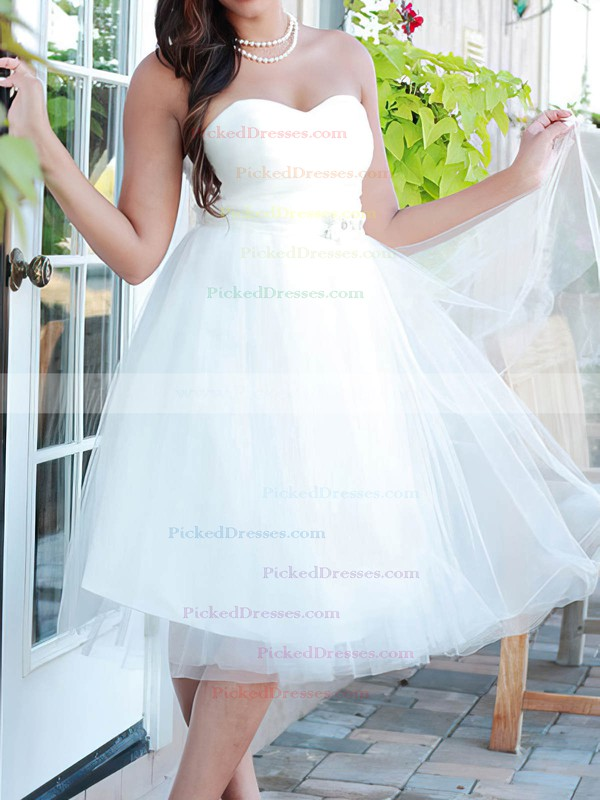 Knee-length White Tulle Beading Lace-up Affordable Sweetheart Wedding Dresses #PDS00020664