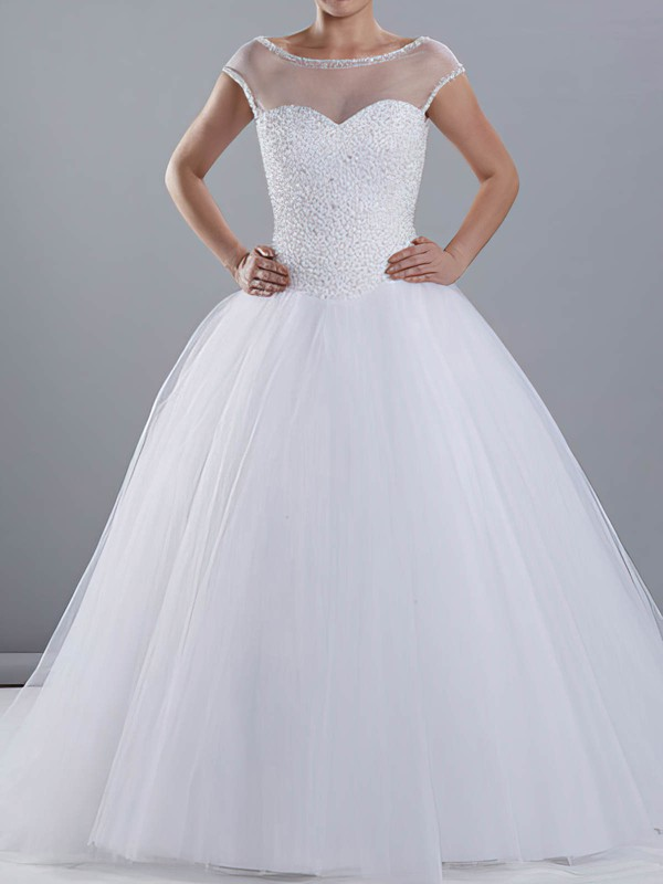 Amazing White Tulle Scoop Neck Beading Ball Gown Wedding Dresses #PDS00020670